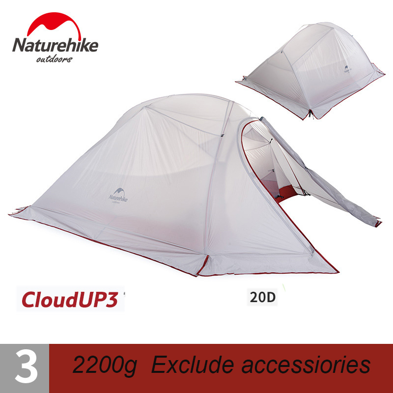 Naturehike Tent 3 Persons Outdoor Camping Waterproof Ultralight Double Layer 20D Nylon Tent barraca praia about 1.81kg CloudUp 3 outdoor double layer 10 14 persons camping holiday arbor tent sun canopy canopy tent