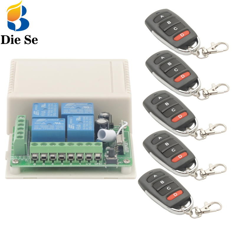 433MHz Universal Wireless Remote <font><b>Switch</b></font> DC 12V <font><b>4</b></font> <font><b>Gang</b></font> rf Relay and Transmitters for Remote Garage/LED/Home appliance Control image