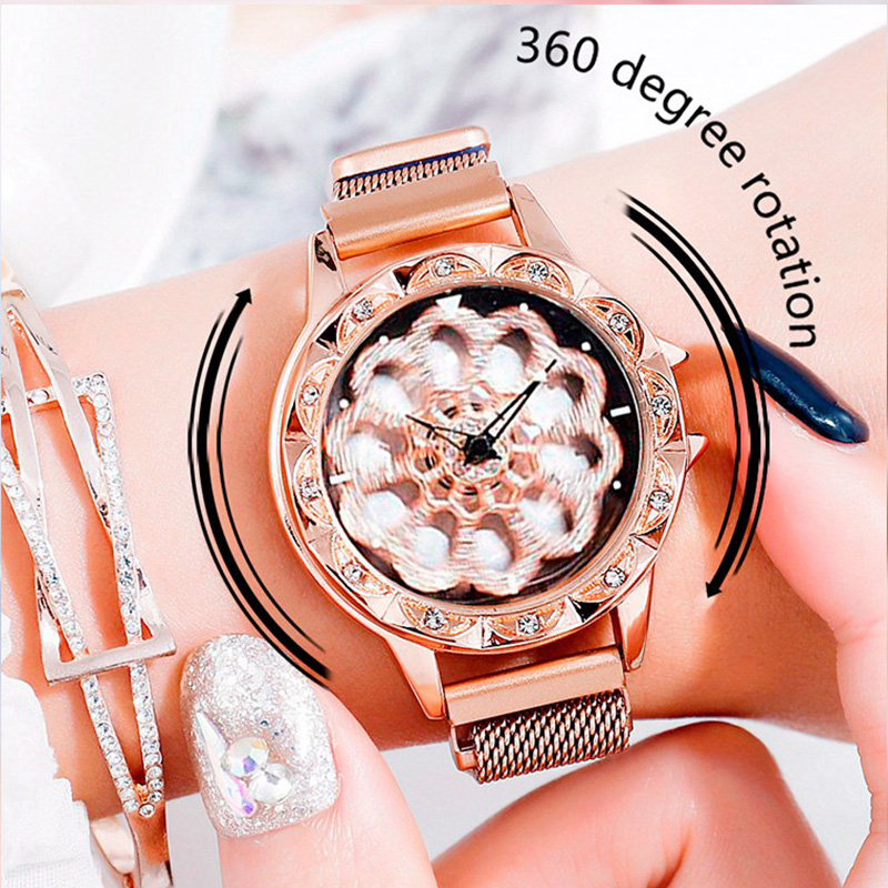 Fashion Ladies Crystal Quartz Wrist Watches relogio feminino 2019 New Women Bracelet Watch Women's Rotating Magnetic Lucky Watch(China)