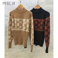 Кашемировый свитер женские 2018 Предварительно осень мода с длинным рукавом Половина Водолазка джемперы 2018 осень зима