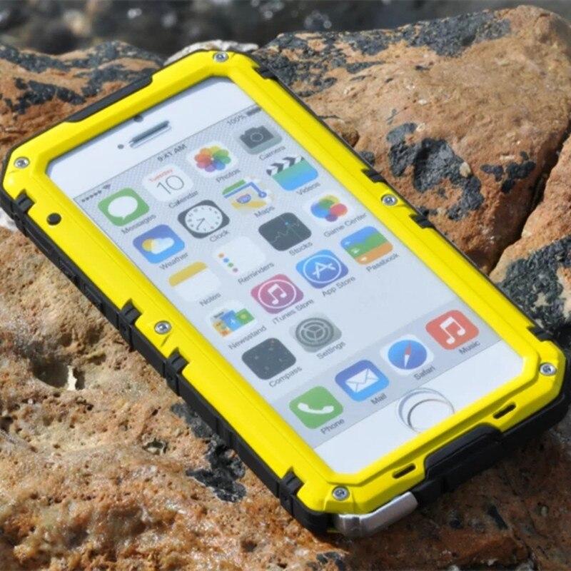 bilder für Heavy Duty Rüstung Stoßsicher Tough Hybrid Eloxiertem Aluminium Anti Stoßfeste Abdeckung Fall für iPhone 6 6 s Plus 6 Plus Fundas