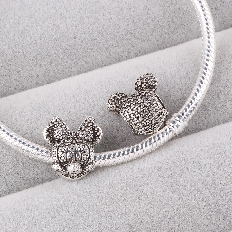 Couqcy DIY Pandora Jewelry-Accessory Bracelet Bead Necklaces Silver Charm Mickey Minnie