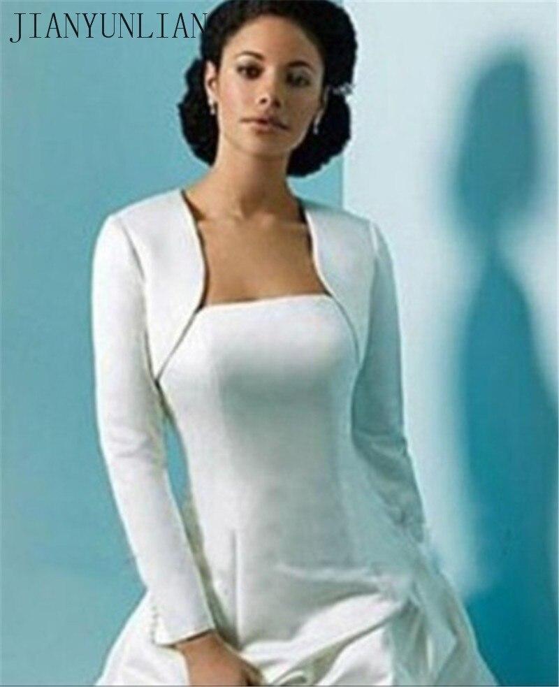 2020 Cheap Long Sleeves Wedding Jacket Wraps Bolero Satin Women Winter Wedding Cape Wrap Shrug For Evening Dresses Custom Made