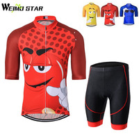 2017 Men New Cartoon Cycling Jersey Short Sleeve Clothing Riding Bike Wear Classic Team Clothing GEL Padded Shorts Sets