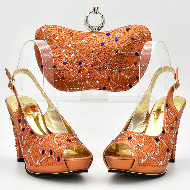 Latest Orange Color Italian Shoes with Matching Bags Nigerian Women Wedding Shoes and Bag Set African Wedding Shoes and Bag Set