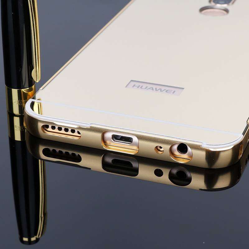 best quality 495da 6382d For Huawei Mate 10 Lite Case Gold Metal Aluminum Bumper Mirror Cases For  Huawei Nova 2i Honor 9i Luxury Acrylic Cover Fundas-in Phone Bumper from ...