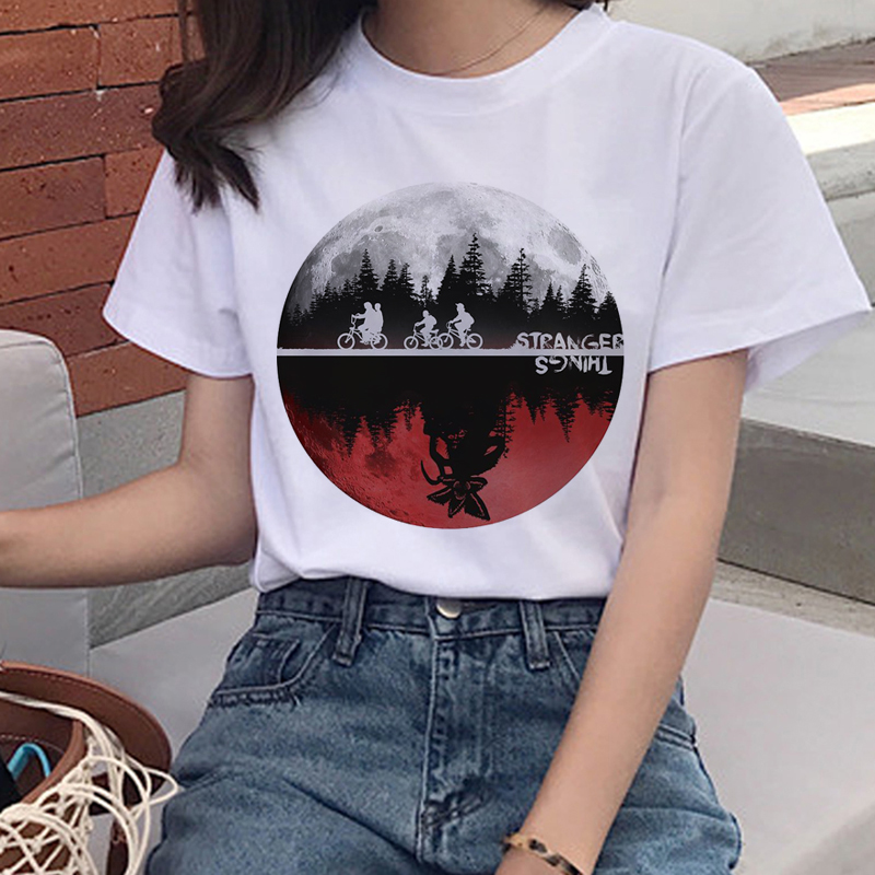 Stranger Things Eleven Harajuku   T     Shirt   Women Upside Down Funny   T  -  shirt   90s Graphic Grunge Tshirt Fashion Ullzang Top Tee Female