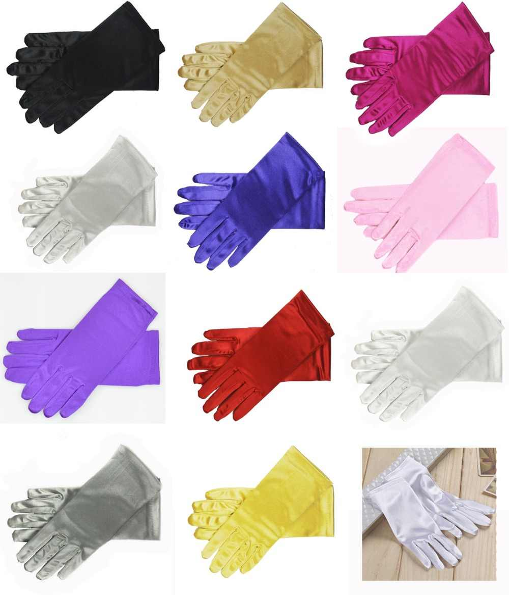 "Wholesale 9"" Wrist Length Stretch Satin Gloves for women girls daily bride Prom Formal 11 Colors"