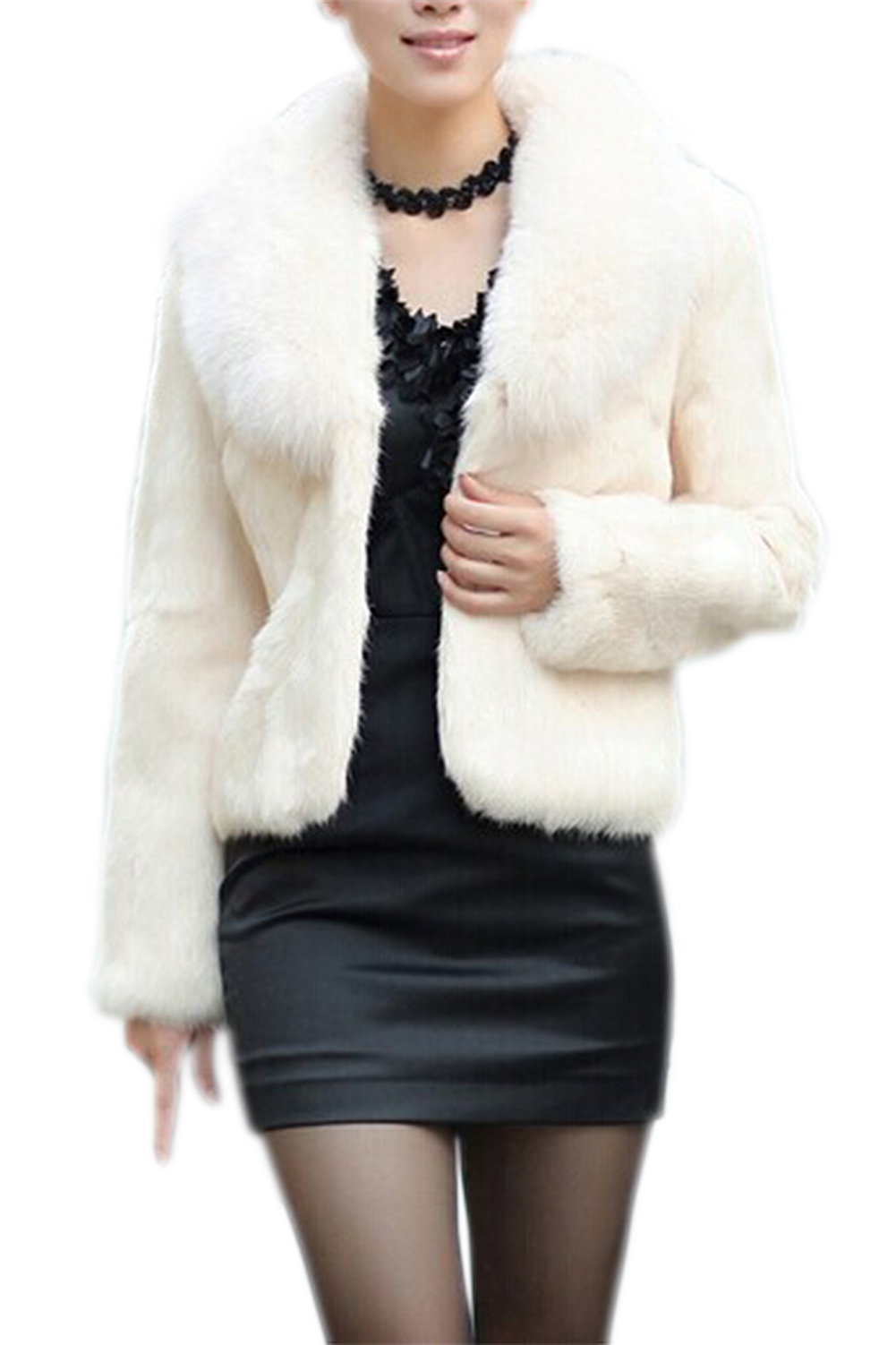 SYB 2016 NEW Womens Faux Fur Imitation mink hair Nagymaros collar long-sleeved short coat Beige