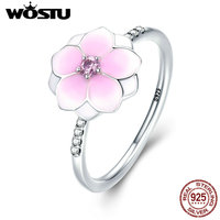 WOSTU Hot Sale Real 925 Sterling Silver Magnolia Bloom Wedding Rings For Women Jewelry Gift For