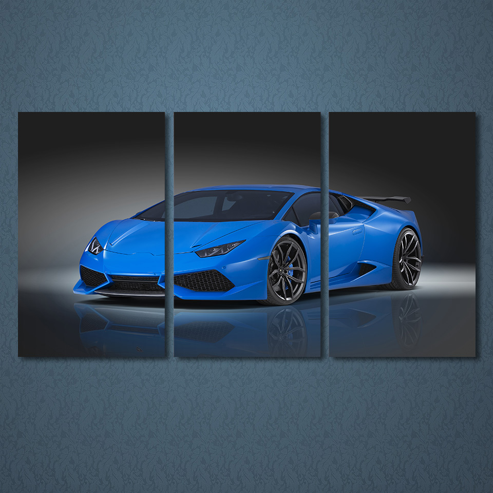 3 pieces blue roadster car wall art canvas pictures for living room bedroom home decor printed