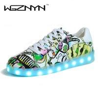 WGZNYN NOVO 2017 Mulheres Brilhantes Coloridos Sapatos Casuais Acende Famale Sapatos Luminosos Led Led Neon Sapatos para Adultos Tamanho Grande 35-44