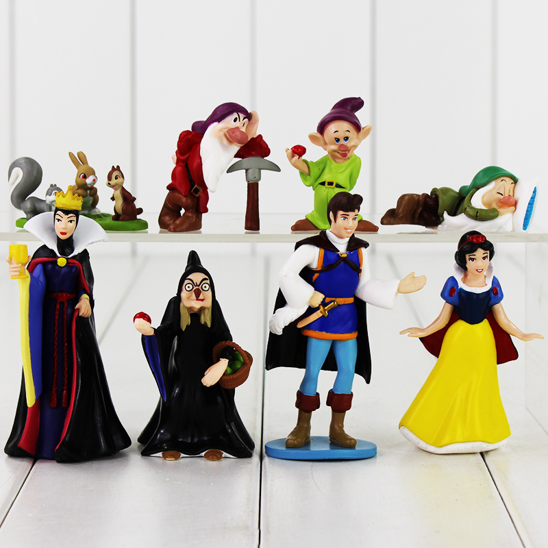 8pcs/set  High Quality PVC Figure Toy Doll Princess Snow White Snow White And The Seven Dwarfs Queen Prince Figure Toy disney princess brass key 2003 holiday collection porcelain doll snow white