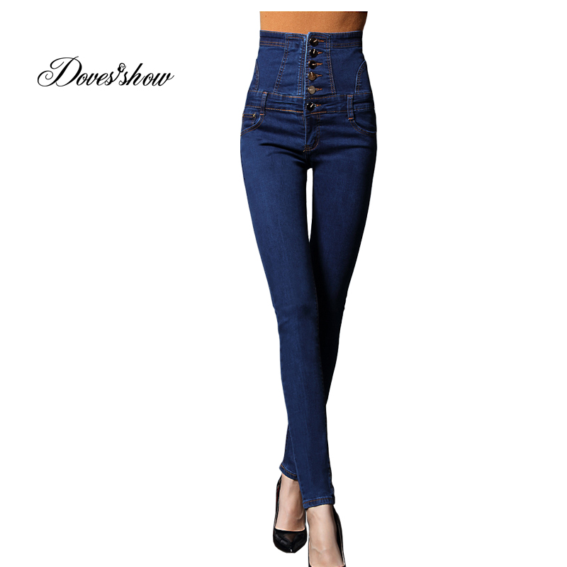 High Waist Single Breasted Denim Jeans Women Spring Pants Plus Size Jeans Casual Elastic Pencil Pants Women's Clothing Trousers plus size elastic waist single breasted denim pants women high waist skinny stretch jean female spring jeans pantalones mujer
