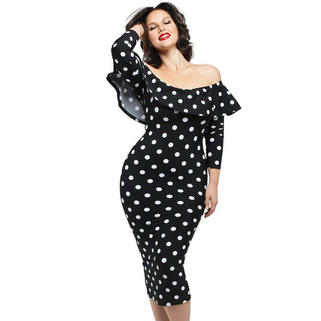 8c46978ba7 women polka dots dress plus size vestidos Retro Vintage valentines day  Ruffle Off-shoulder Neckline