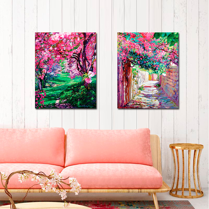 2 Pieces Impressionism Pink Flowers Forest Road Decoration Wall Art ...