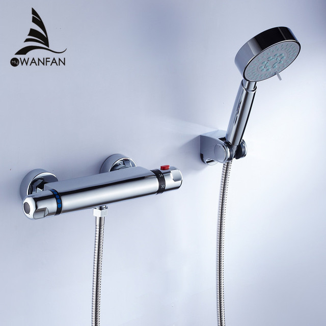 Shower Faucet Chrome Silver Wall Mounted Thermostatic Bathtub Faucet ...