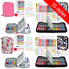 35 Styles Crochet Hook Set With Yarn Knitting Needles Sewing Tools Knit Gauge Stitch Holder For