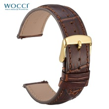 WOCCI Genuine Leather Strap 18mm 20mm 22mm Red Brown with Stitching Gold Buckle Watch Band Italy Bamboo Pattern Belt