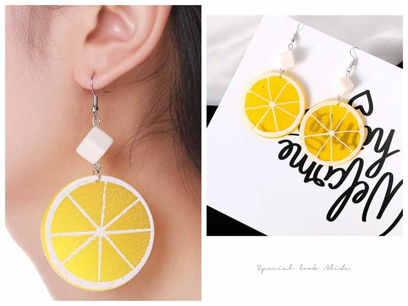 Hot Style Fruit Orange Lemon Pendant Earrings Female Sweet Temperament Earrings Birthday Gift