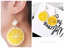 Hot Style Fruit Orange Lemon Pendant Earrings Female Sweet Temperament Birthday Gift