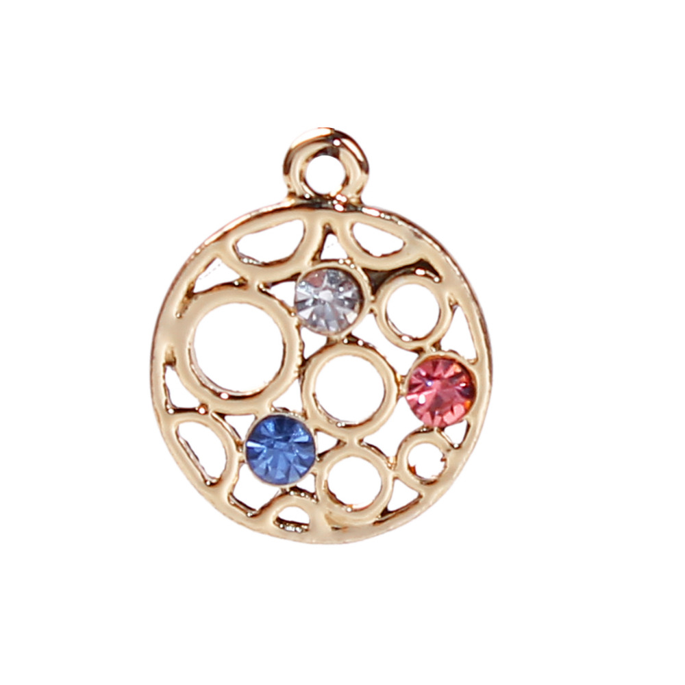 DoreenBeads Zinc Based Alloy Gold Color Charms Round Multicolor Rhinestone DIY Components 17mm( 5/8) x 14mm( 4/8), 10 PCs