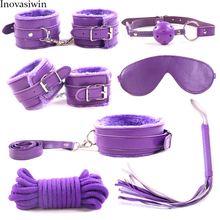 7pcs set BDSM sex bondage mask woman handcuffs  bed in adult games 5m rope slave collar leather whip gag plug
