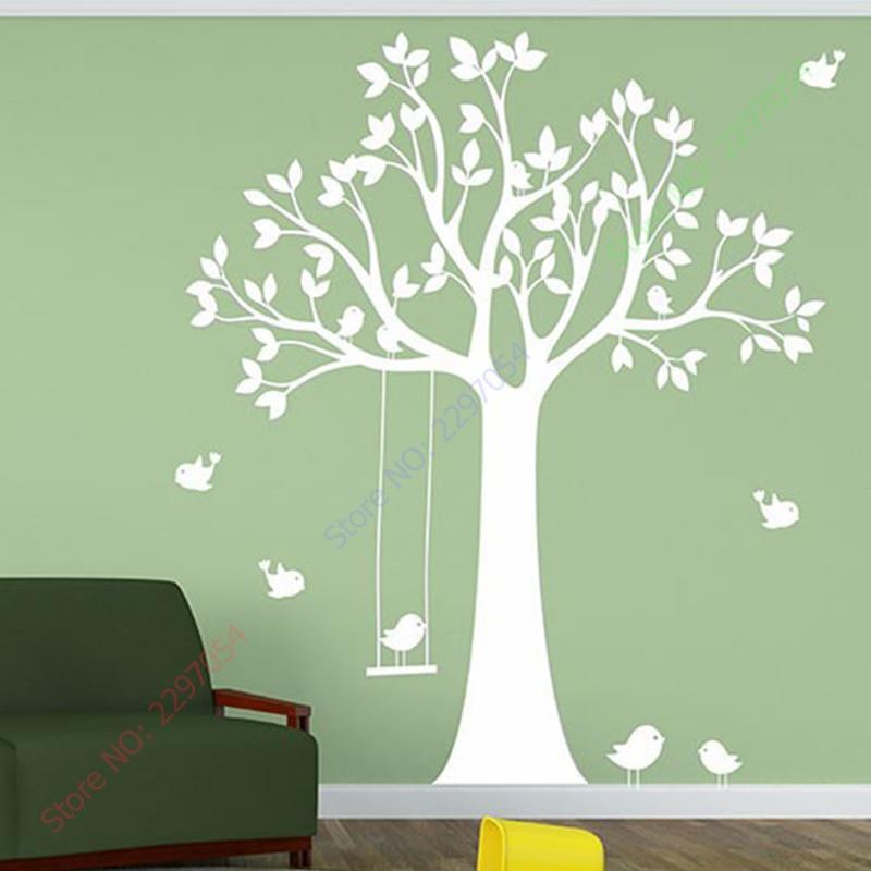 Baby Nursery Tree Wall Sticker Swing Birds Tree Wall Decals for - Home Decor - Photo 3
