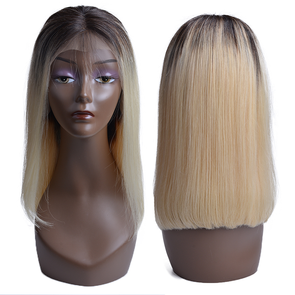 13x4 Bob Wig 1B 613 Ombre Honey Blonde Straight Brazilian Lace Front Human Hair Wig Pre
