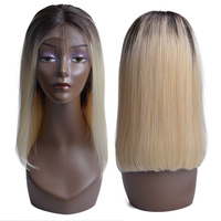 13x4 Bob Wig 1B 613 Ombre Honey Blonde Straight Brazilian Lace Front Human Hair Wig Pre Plucked Short Half Wig for Black Women