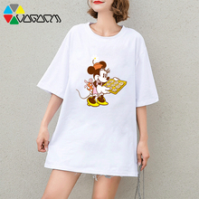 Harajuku Women Summer Mickey Minnie Mouse Cartoon Print Tee Casual Loose Cute Short Sleeve Party T-shirts Black Tops