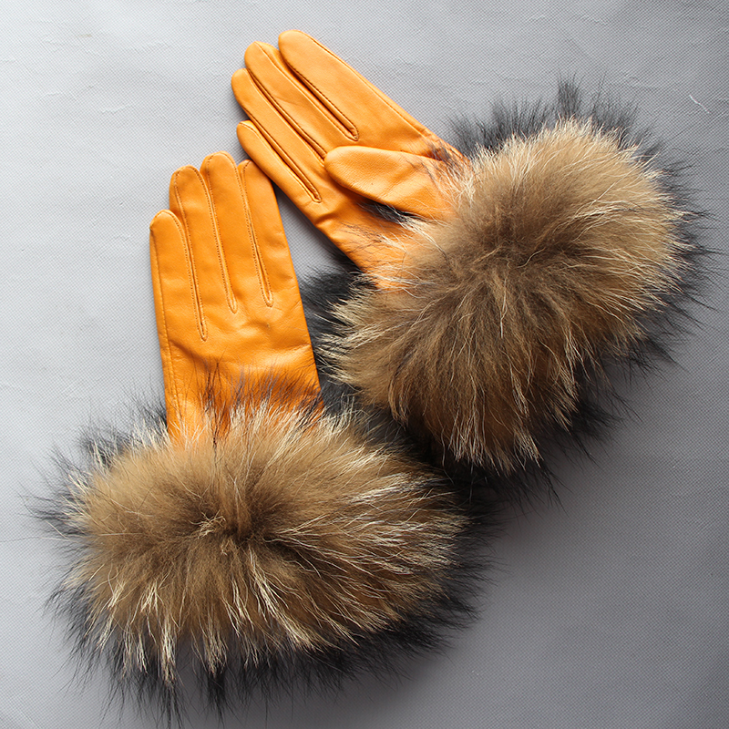 Lg0004 Real Raccoon Fur Gloves Leather Women's Gloves Big Raccoon Fur Sheepskin Genuine Leather Gloves Female