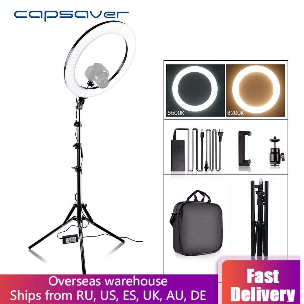 Capsaver RL-18A LED anneau lumière bicolore 3200 K-5500 K CRI90 55W 512 LED s 18 photographie éclairage LED anneau lampe pour vidéo YouTube