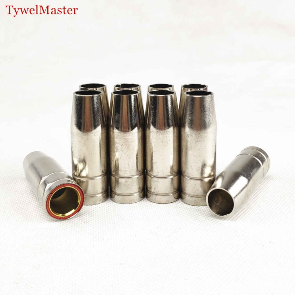 15AK Gas Nozzle 10pcs MIG Welding Torch Gas Nozzle Contact Tip For MIG MAG Welding Gun