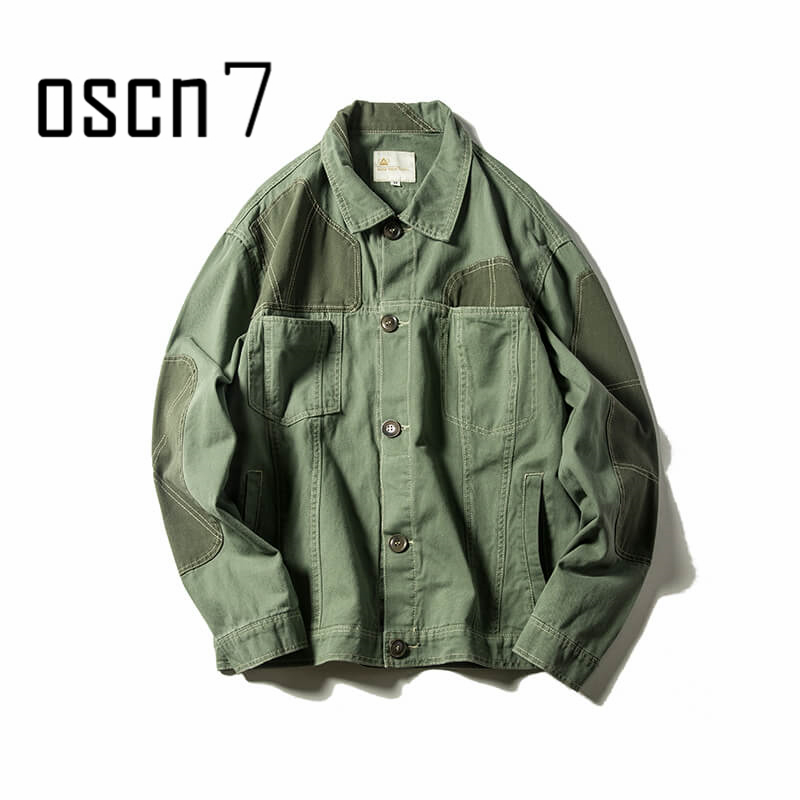 OSCN7 Autumn Winter Retro Streetwear Patchwork Jacket Men Trend Fashion Green Cargo Tactical Jacket Coat Men Military Jacket Men