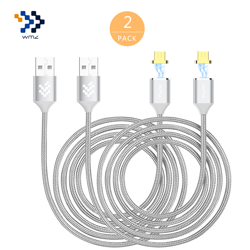 imágenes para 2 Pack WMZ Metal Magnético Micro USB Cable de Nylon Trenzado Del Cable Data Sync Cable de Carga para Samsung LG Sony Huawei Xiaomi Andriod