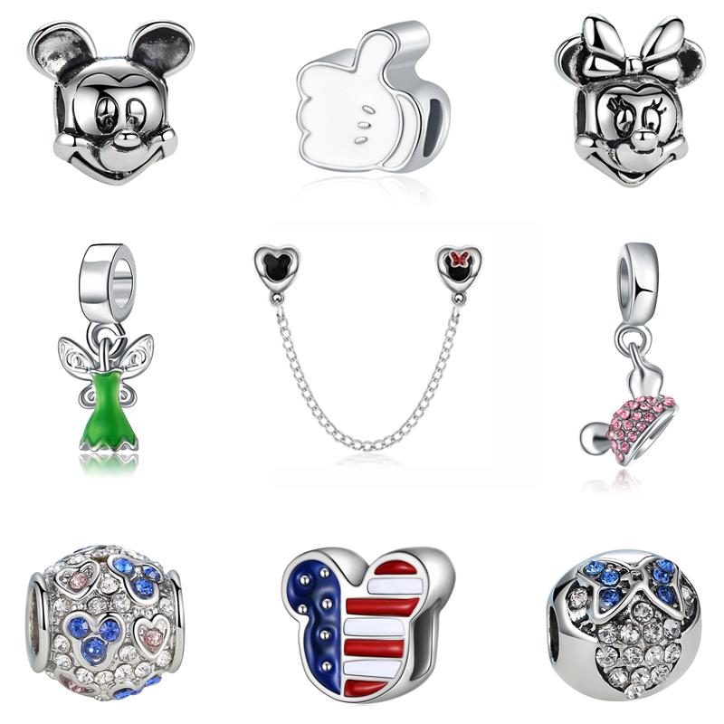 Beads Enthusiastic Pandulaso Miki Mouse Heart Crystal Beads Women Silver 925 Jewelry Fit Diy Original Charms Bracelets Fashion Beads For Diy Making