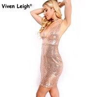 Viven Leigh Vestidos Bodycon Rose Gold Sequin Spaghetti Strap Dress 2017 Womens Cheap Sparkly Dresses Sexy