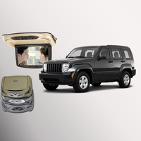 BigBigRoad For Jeep Liberty Car Roof Mounted in car LED Digital Screen Support HDMI USB FM TV Game IR Remote Flip Down DVD