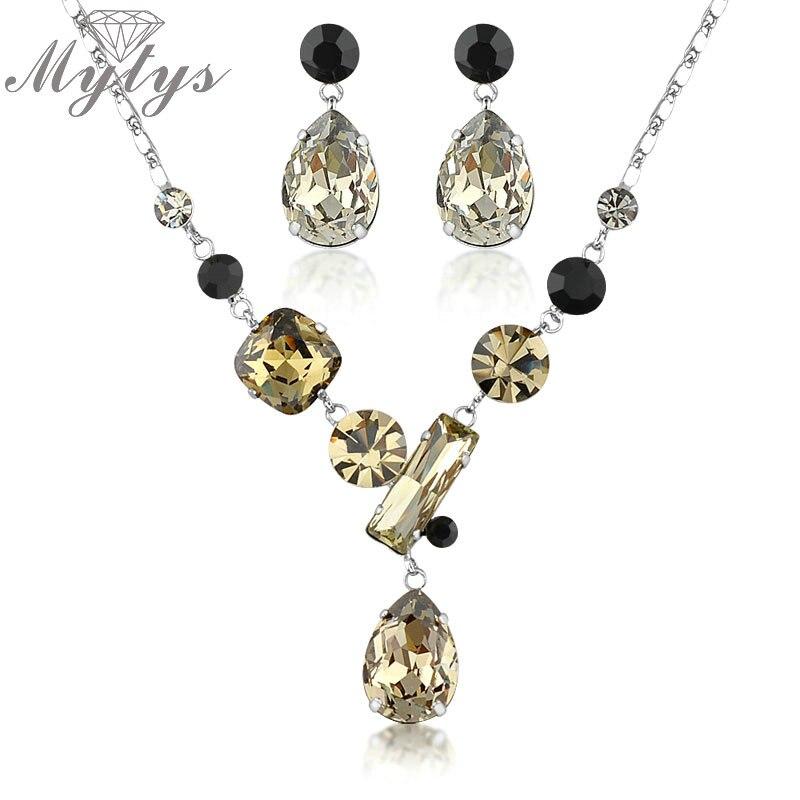 ec6b5954dd90 Mytys COLLAR COLGANTE de cristal y cristal Pendientes gota mujeres moda  Juegos de joyería cn47