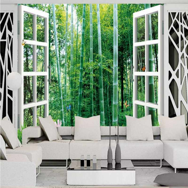 Custom 3d mural  Outside window bamboo landscape 3D wall Mural Background Wall lobby wallpaper mural living room bedroom