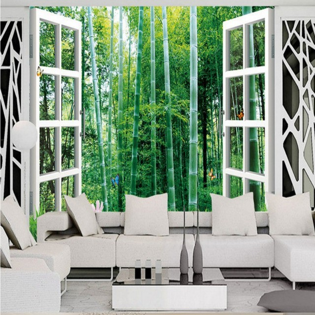 Charming Custom 3d Mural Outside Window Bamboo Landscape 3D Wall Mural Background  Wall Lobby Wallpaper Mural Living Part 29
