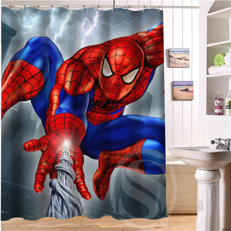 Hot Sale Free Shipping Custom Marvel Hulk Spider Man Captain America Waterproof Seaside Scenery Shower Curtain In Curtains From Home Garden On