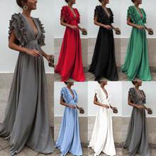 Женское длинное платье с глубоким v образным вырезом и открытой
