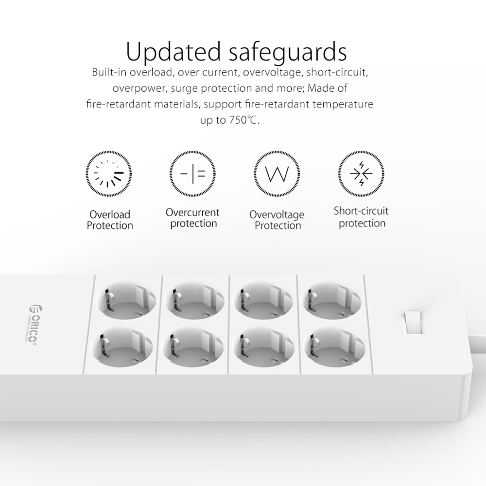 Image 2 - ORICO Electrical Socket EU Plug Extension Socket  Outlet Surge  Protector EU Power Strip with 5x2.4A USB Super Charger Portsorico power  stripeu power stripoutlet surge protector