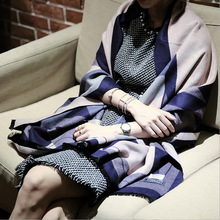 Autumn and winter in Europe all-match fringed scarf shawl and Ladies Wool Cashmere Scarf Shawl thickening conditioner