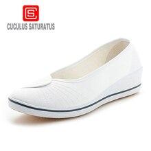 Cuculus женские лоферы мягкие слипоны парусиновые женские туфли на плоской подошве Однотонная повседневная обувь дышащие туфли-лодочки для мамочек обувь на платформе 804