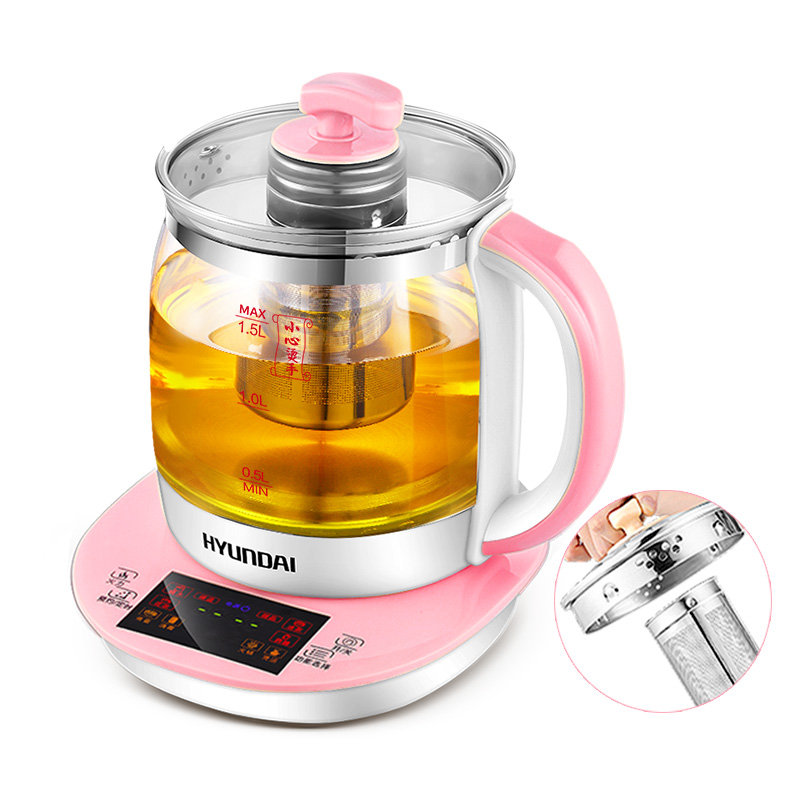 2L Health Pot Automatic Thicker Glass Multi - Functional Health Pot Mini Split Tea Cooker Machine Microcomputer Control Pink 220v 600w 1 2l portable multi cooker mini electric hot pot stainless steel inner electric cooker with steam lattice for students
