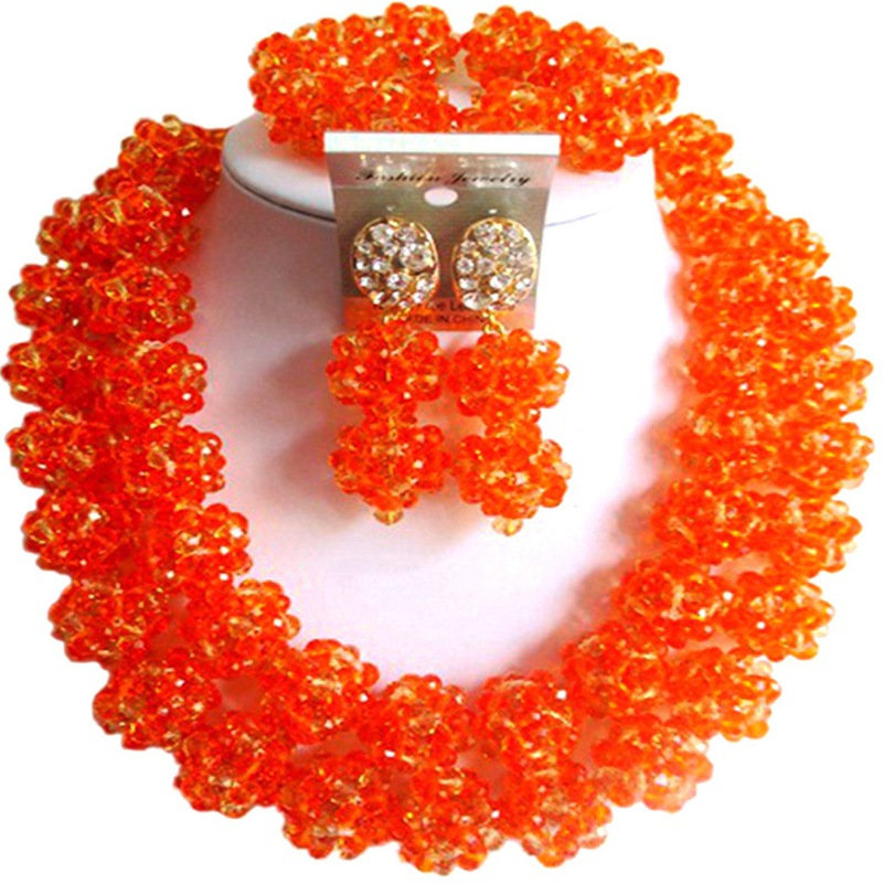 Marvelous Orange African Style Romantic Nigerian Wedding Women Crystal  Jewelry Sets 2C-SJHQ-22Marvelous Orange African Style Romantic Nigerian Wedding Women Crystal  Jewelry Sets 2C-SJHQ-22