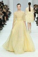 Elie_Saab Evening Dresses yellow Lace Hand Made Flower Beaded  half sleeve Floor length Court train Bateau Celebrity Dresses